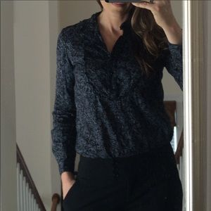 Banana Republic Black and Grey Blouse